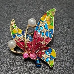 Gold tone colorful butterfly brooch
